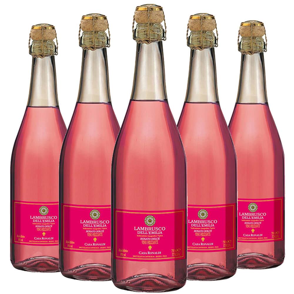 Lambrusco Dell'emilia Casa Ronaldi Rosé 5 garrafas