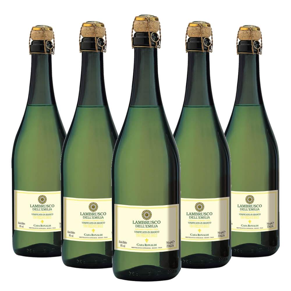 Lambrusco Dell'emilia Casa Ronaldi Branco 5 garrafas