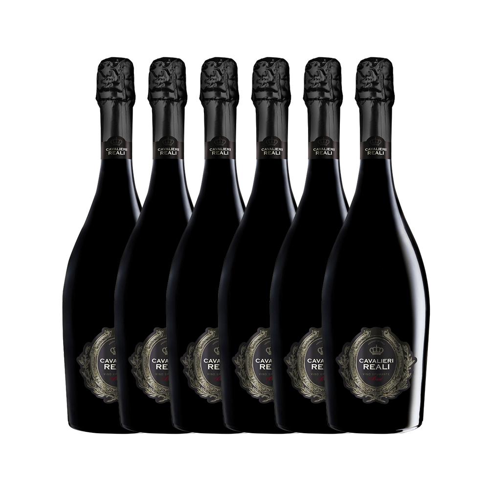 Kit Espumante Cavalieri Brut com 6 garrafas + 2 taças de cristal