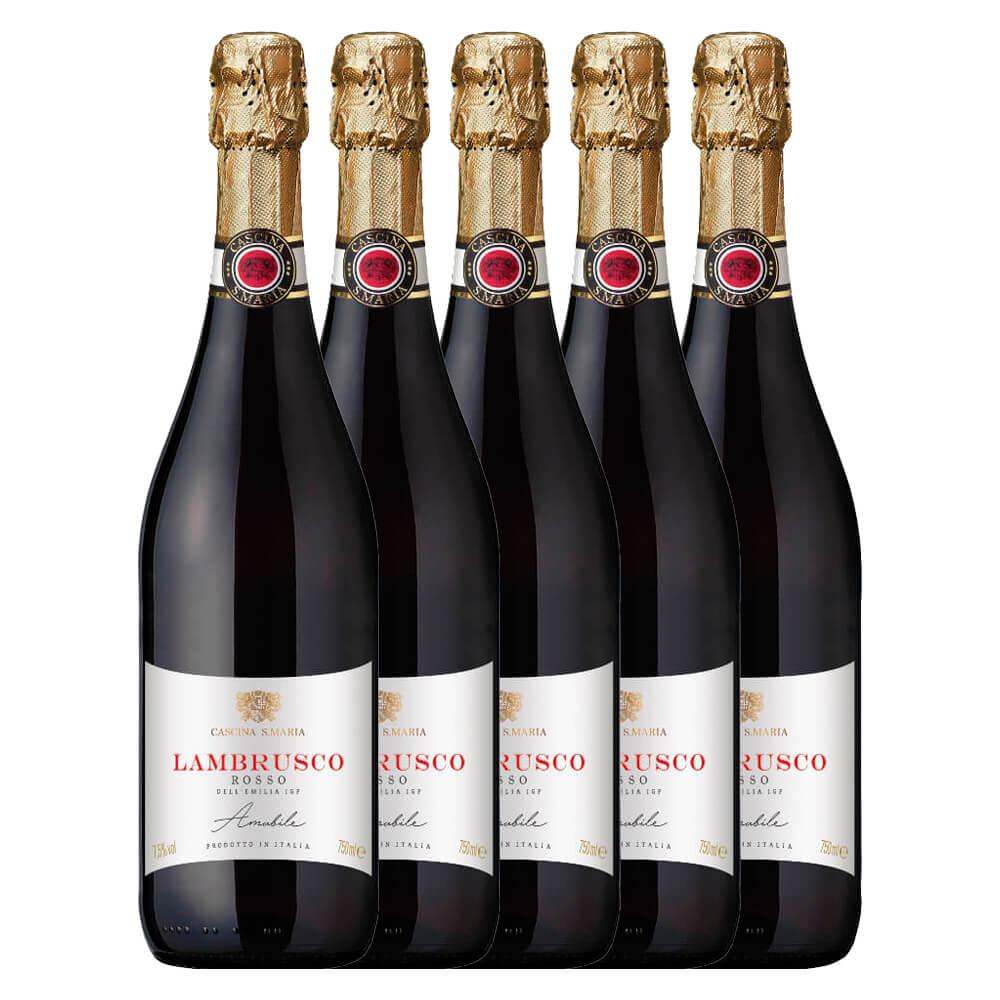 Kit Lambrusco Cascina Santa Maria Doce com 5 garrafas